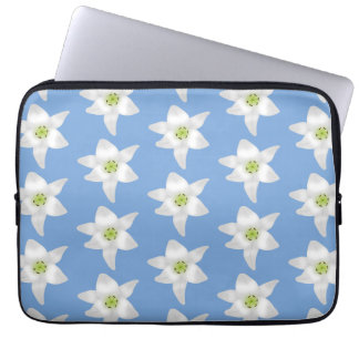 Elegant Floral Pattern White Lilies on Blue Computer Sleeves
