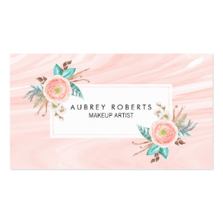 Elegant Floral Peach Marble Professional Business Card