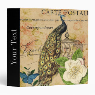 elegant floral peacock birdcage vintage paris 3 ring binder
