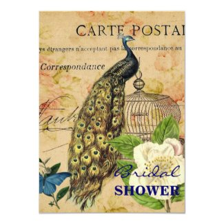 elegant floral peacock birdcage vintage paris 4.5x6.25 paper invitation card