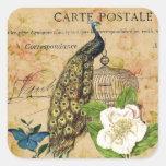 elegant floral peacock birdcage vintage paris square sticker