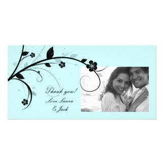 Elegant Floral Photo Card Black & White Blue