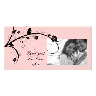 Elegant Floral Photo Card Black & White Pink