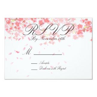 Elegant Floral Pink Blossom Wedding RSVP Card