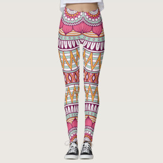 Elegant floral pink Boho tribal pattern Leggings