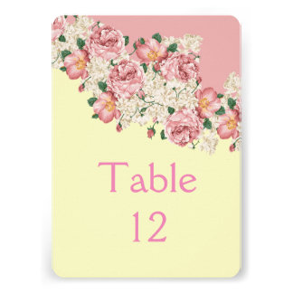 Elegant Floral Pink Bouquet Table card