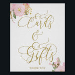 """Elegant Floral Pink Gold Cards and Gifts Sign<br><div class=""""desc"""">Elegant Cards and Gifts Sign with pink and gold floral design and beautiful calligraphy. This feminine watercolor design has pink and gold flowers with a dash of greenery. It features elegant hand lettering and typography in gold, with """"Cards & Gifts"""" hand lettered in swirly calligraphy. Please browse my store for...</div>"""