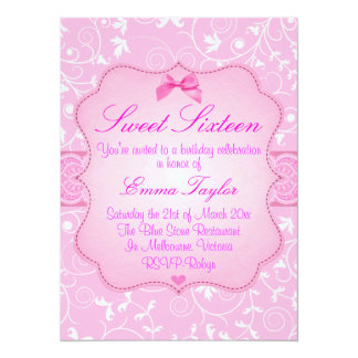 Elegant Floral Pink Sweet16 Birthday Invitation