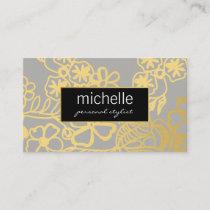 Elegant Floral Print Personal Stylist Business Card