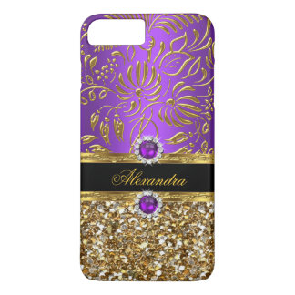 Elegant Floral Purple Gold Damask Glitter iPhone 7 Plus Case