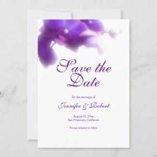 Elegant Floral Purple Orchid Save the Date Invitation