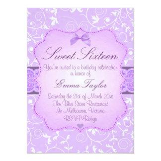 Elegant Floral Purple Sweet16 Birthday Invitation