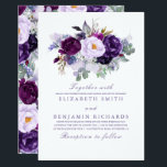 """Elegant Floral   Purple Watercolors Wedding Card<br><div class=""""desc"""">Gorgeous floral wedding invitations in shades of purple</div>"""