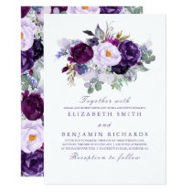 Elegant Floral | Purple Watercolors Wedding Card