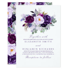 Elegant Floral | Purple Watercolors Wedding Card at Zazzle