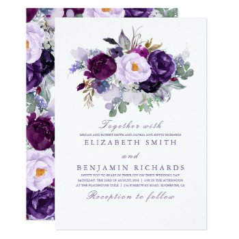 Elegant Floral | Purple Watercolors Wedding Card by lovelywow at Zazzle
