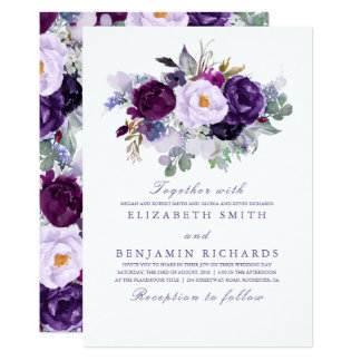 Elegant Floral | Purple Watercolors Wedding Invitation