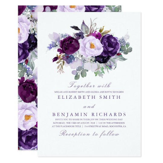 Elegant Floral Purple Watercolors Wedding Invitation Zazzle Com