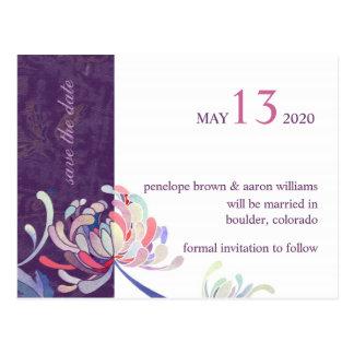 Elegant Floral Purple Wedding Save the Date Postcard