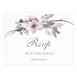 Elegant Floral Purple Winter Quinceanera RSVP Postcard