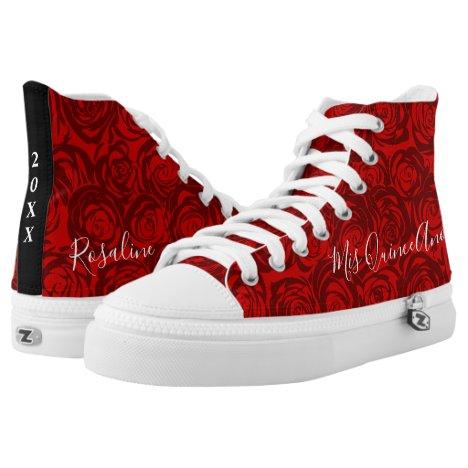 Elegant Floral Quinceanera Red Rose Monogram Name High-Top Sneakers