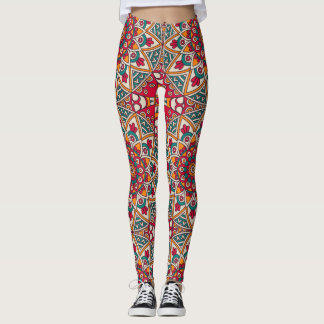 Elegant floral red green Boho tribal pattern Leggings