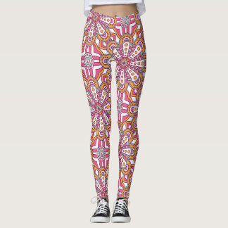 Elegant floral red pink Boho tribal pattern Leggings