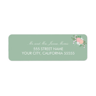 Elegant Floral Return Address Label - Mint