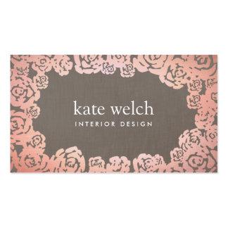 Elegant Floral Rose Gold Roses Interior Designer Double-Sided Standard Business Cards (Pack Of 100)