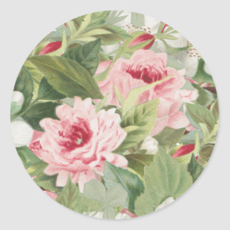 Elegant floral rose vintage sticker