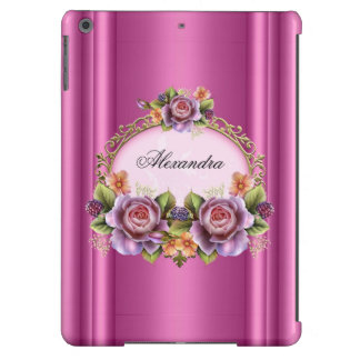 Elegant Floral Roses Pink Purple Gold Elite iPad Air Cases