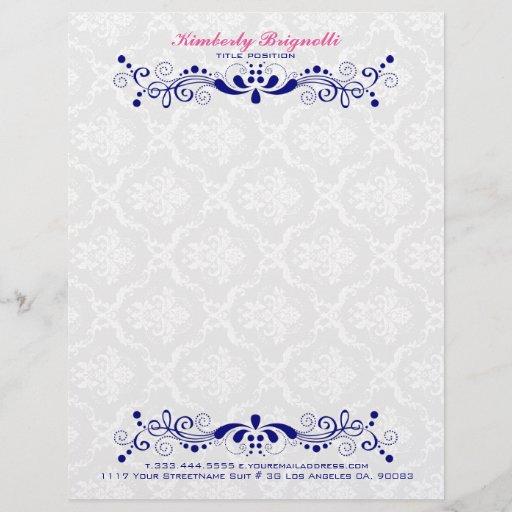 Elegant Floral Royal-Blue Lace White Damasks Letterhead