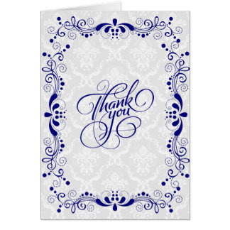 Elegant Floral Royal Blue Lace With White Damasks Card
