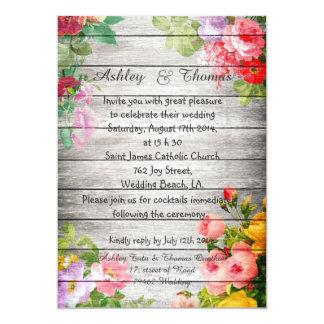 Elegant Floral Rustic Gray Wood Fall Wedding Custom Announcements