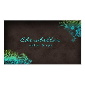 Elegant Floral Salon Spa Stylish Blue Green Brown Business Card Template