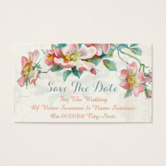 Elegant floral save the date business card
