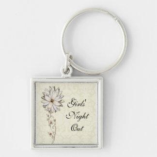 Elegant Floral Save the Date Design Keychain