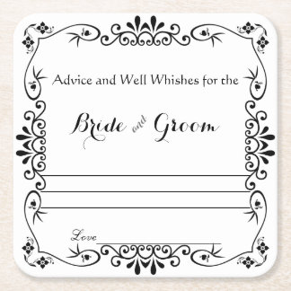 Elegant Floral Scroll, Advice and Well Wishes Square Paper Coaster