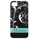 Elegant floral scroll leaf black, aqua flourish iPhone 5 cases