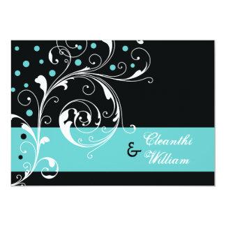 Elegant floral scroll leaf black, aqua wedding card