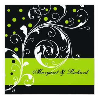 Elegant floral scroll leaf black, green wedding card