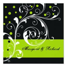 Elegant floral scroll leaf black, green wedding 5.25