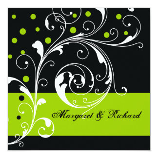 "Elegant floral scroll leaf black, green wedding 5.25"" square invitation card"