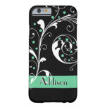 Elegant floral scroll leaf black mint green barely there iPhone 6 case