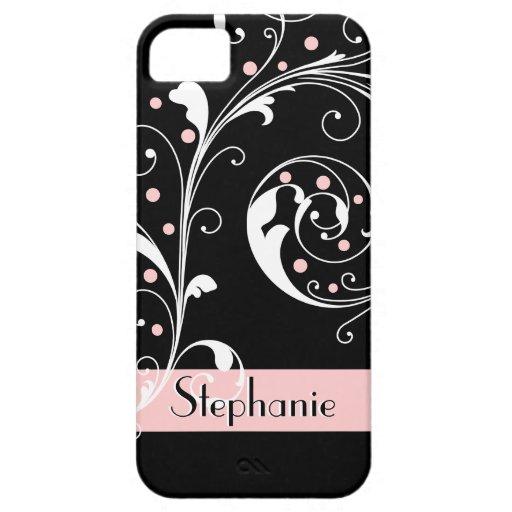 Elegant floral scroll leaf black pink flourish iPhone 5 cover