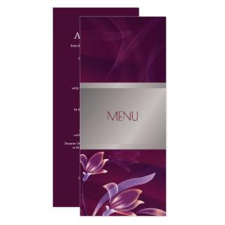 Elegant Floral | Silver Design Custom Menu Cards