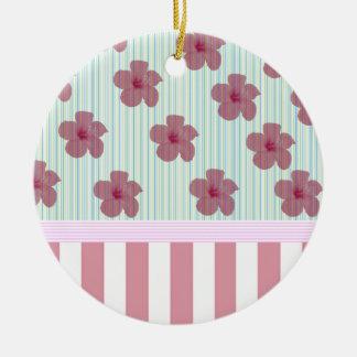 Elegant floral stripes monogram ceramic ornament
