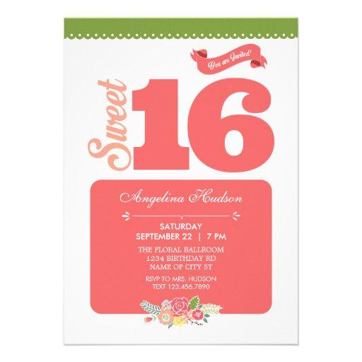 Elegant Floral Sweet 16 Invitation