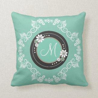 Elegant Floral Swirl Pattern Monogram Pillow|Mint