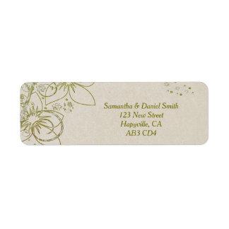 Elegant Floral Swirls Sandstone Background Label